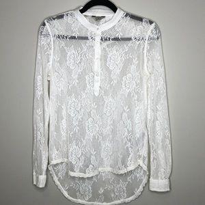GUESS white stretch lace 1/2 button hi-low top XS